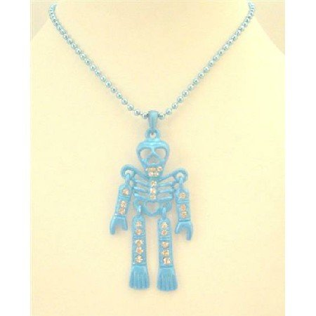 HH217  Blue Skeleton Pendant Necklace Fully Body Embedded w/ Cubic Zircon