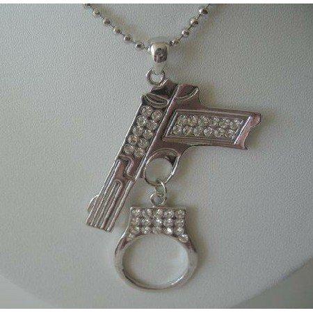 HH205  Pistol Gun w/ Handcuff Dangling Sparkling Diamond Cubic Zircon Embedded On Gun/