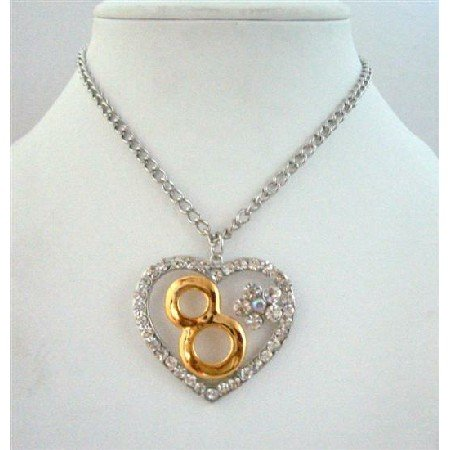 HH171  2008 Hip Hop Heart Pendant w/ Number 8 For 2008 Year 26 Inches Long Necklace