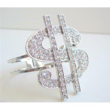 HH023  Gorgeous Dollar Sign Fully Embedded Bracelet w/ CZ stones Sparkling Dollar Cuff Bracelet