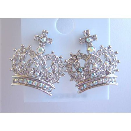 HH031  Crown Pierced Earrings Fully Embedded w/ Cubic Zircon Sparkling Earrings