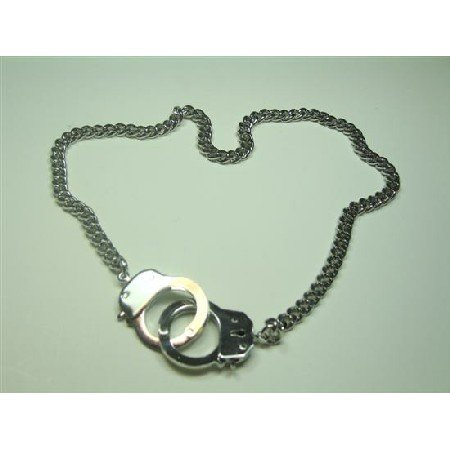 HH102  Silver Handcuff NECKLACE Openable Clasp Hand Cuff Thick Sexy Chain Necklace