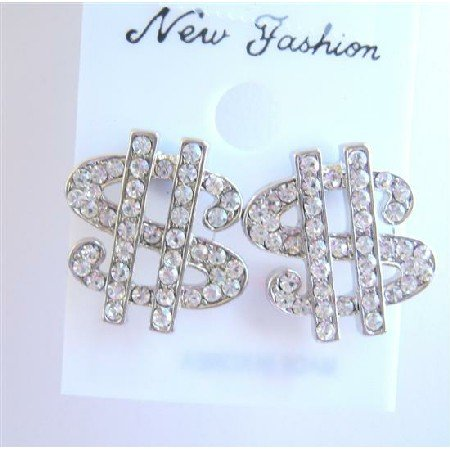 HH035  Hip Hop Shimmering Dollar Earrings In Simulated Silver w/ CZ Full Embedded Earrings