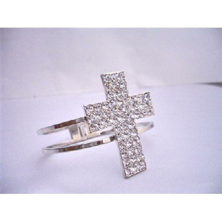 HH027  Hip Hop Shimmering Cross Cuff Bracelet In Silver Simulated Rhodium w/ CZ Embossed