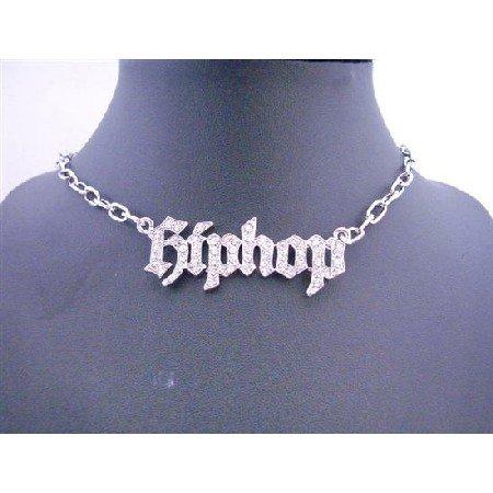 HH008  Captivating Simulated Platinum Necklace Beautiful Designed w/ HipHop CZ stones Pendant