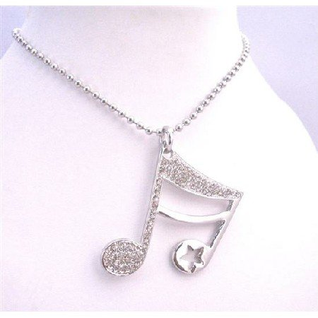 HH193 Bling Bling Shimmering Musical Note Pendant Fully Embedded Cubic Zircon Jewelry Necklace