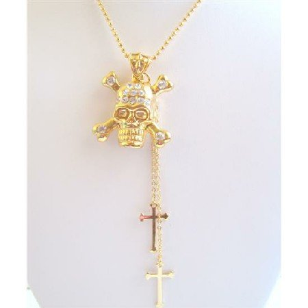 HH178  Bling Gold Skull Pendant Necklace w/ Cross Dangling Necklace 26 Inches Gold Chain Necklace