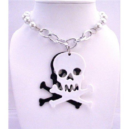 HH016  Halloween Gift White Pearls Long Necklace w/ Skull Head Penant 30 inches Long Necklace