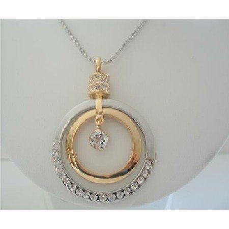 HH131  Round Striking HipHop Pendent Cubic Zircon 24 inches Chain