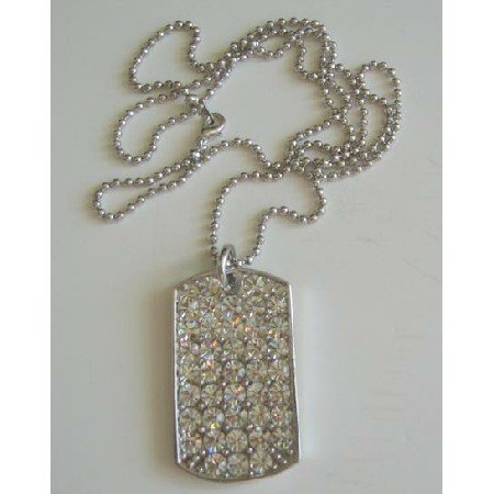HH039  Dog Tag in ICe Shimmering all covered w/ CZ 28 inches chain