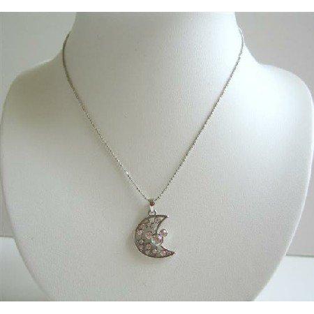 HH004  Simulated Diamond Half Moon Pendant Choker Necklace