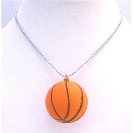 HH209  Basket Ball Pendant Necklace Sports Basket Ball Pendant w/ 30 inches Long chain