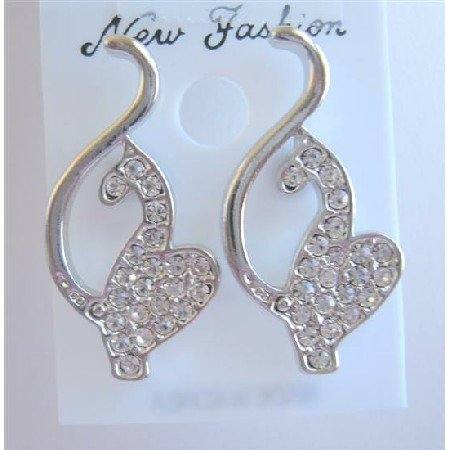 HH007  Classic Designed Sparkling Pierce Earrings To Your Heart