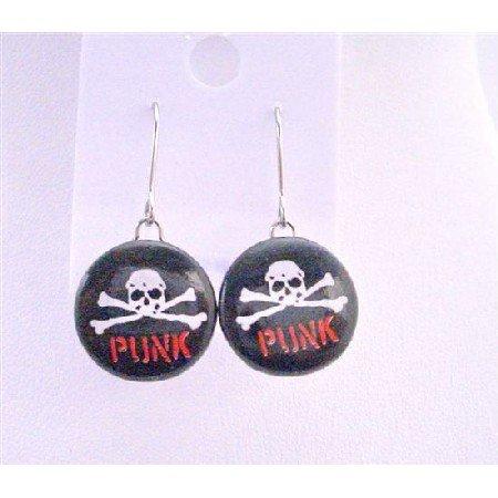 HH053  Smashing New Skull Earrings w/ Word Punk