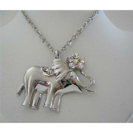 HH142  Vintage Elephant Pendant Hip Hop Shimmering Elephant Pendant w/ CZ 24 inches Chain