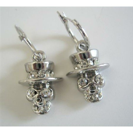 HH165  Cubic Zircon Hat Skull With Top Hat Dangle Fashion Earrings