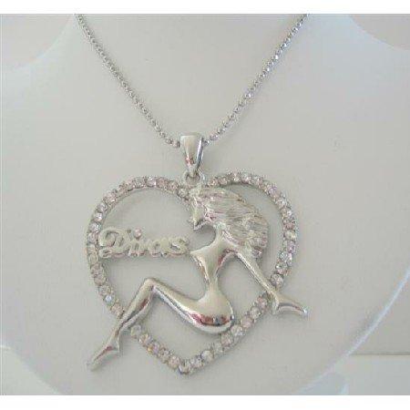 HH136  Hip Hop Divas Heart Cubic Zircon Pendant Hip Hop Shimmering w/ CZ 24 inches Chain