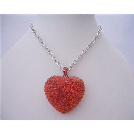 HH128  Red Heart Red Cubic Zircon Heart Pendant Hip Hop Shimmering w/ CZ 24 inches Chain