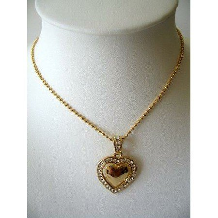 HH067  Gold & CZ Heart Pendant Gold Tone Shimmering Necklace 16 inches