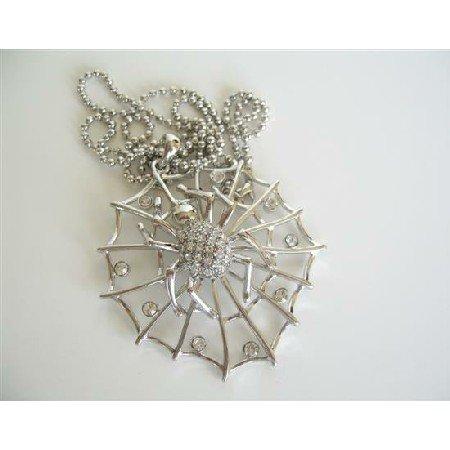 HH089  Cubic Zircon Spider Web Pendant NEcklace Hip Hop Jewelry