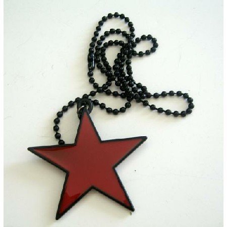 HH084  Star Hip Hop Pendant Necklace w/ Black Chain Necklace 24 Inches