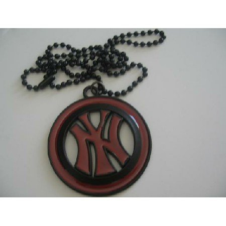 HH080  NY Pendant Hip Hop w/ Black Chain Necklace 24 Inches
