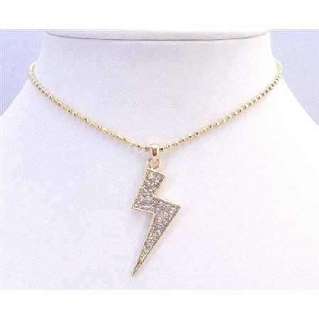 HH185  Gold Lightning Pendant With Cubic Zircon Fully Embedded Shimmering Choker