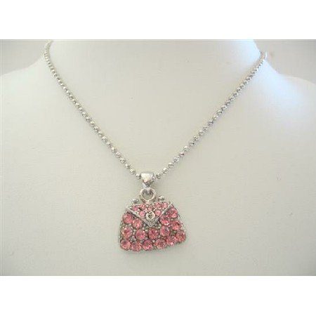 HH005  Pink Crystals Cute Purse Pendant Necklace