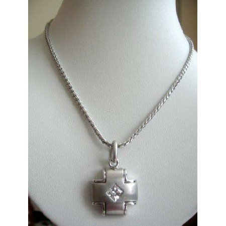 HH009Pendant designed simulated Platinum w/small Diamond shape Cubic Zircon stone in Pendant