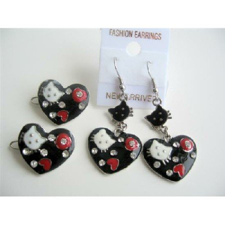 GC092  Heart Shaped Hello Kitty Girls Pair Of Hair Clip & Enameled Black w/ Beautiful Designed
