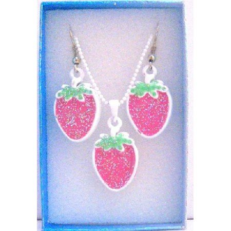 GC116  Strawberry Pendant Earrings Jewelry Set w/ Gift Box