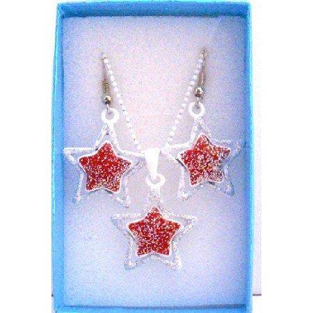 GC117  Star Pendant Earrings Jewelry Set Girls Gift Jewelry w/ Gift Box