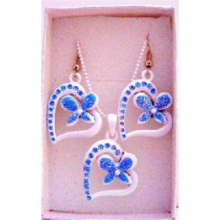 GC122  White Pendant w/ Glitter Blue Flower Inside Heart Girls Jewlery Set w/ Gift Box