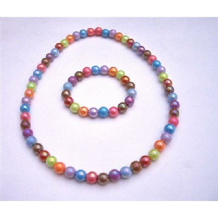 GC102  Girls Stretchable Necklace & Bracelet Multicolored Fancy Beads