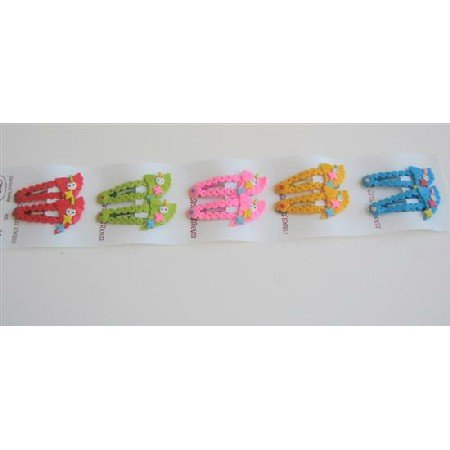 GC024  Multicolored Girls Hair Clips Assorted Colors