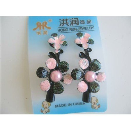 GC034  Floral Preety Girls Clamp Clip Pink Black