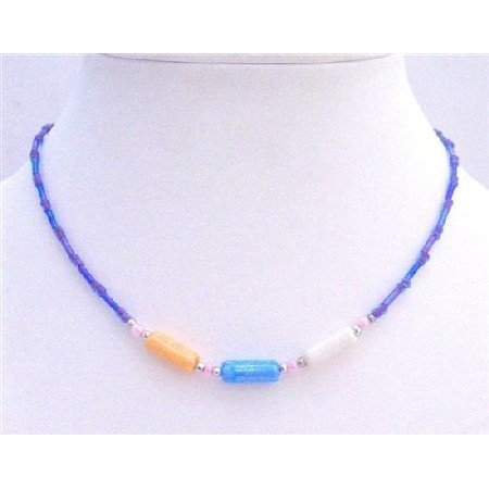 GC084  Girl Necklace Blue Beads & Cylindrical Necklace