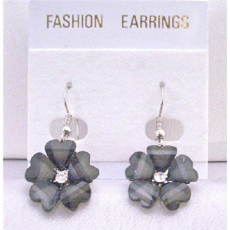 D144 Dollar Earrings Black Enamel Flower Earrings w/CZ Stud In Center Beautiful Earrings