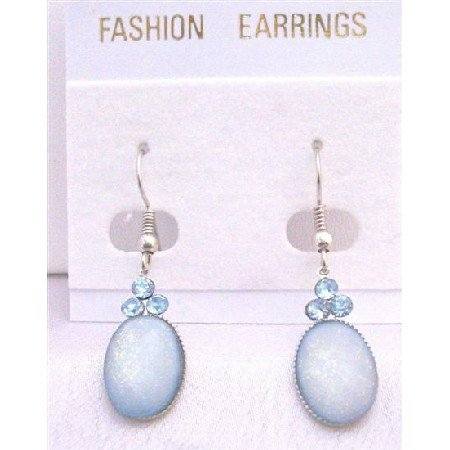 D153  Aquamarine Oval Bead Earrings With Aquamarine Cubic Zircon Decorated on The Top