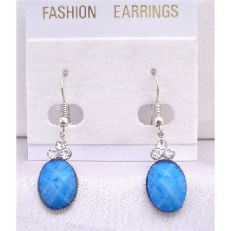 D148Dollar Earrings Turquoise Stone Colored Oval Bead Decorated w/3 Simulated Diamond On The Top
