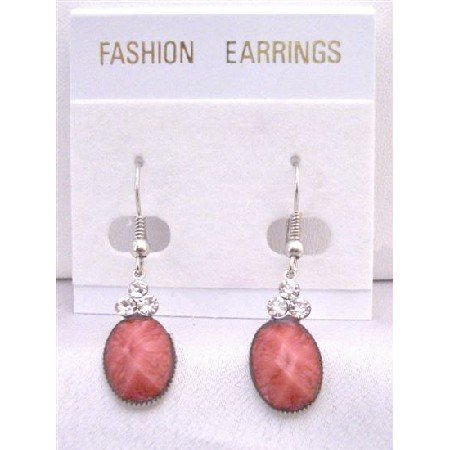 D150 Padparascha Stone Colored Ethnic Dollar Earrings Decorated w/3 Simulated Diamond On The Top
