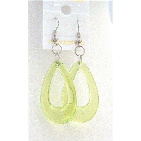 D137  Peridot Green Glass Teardrop Dollar Earrings