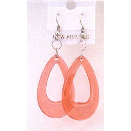 D138  Glass Teardrop Earrings Red Teardrop Dollar Earrings