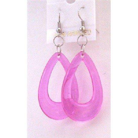 D135  Dollar Jewelry Sexy Purple Glass Teardrop Earrings
