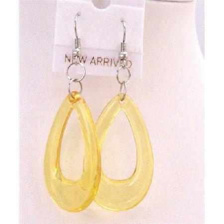 D139  Soft Yellow Earrings Yellow Glass Teardrop Earrings Dollar Earrings