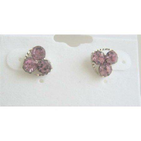 D037  Pink Flower Stud Earrings