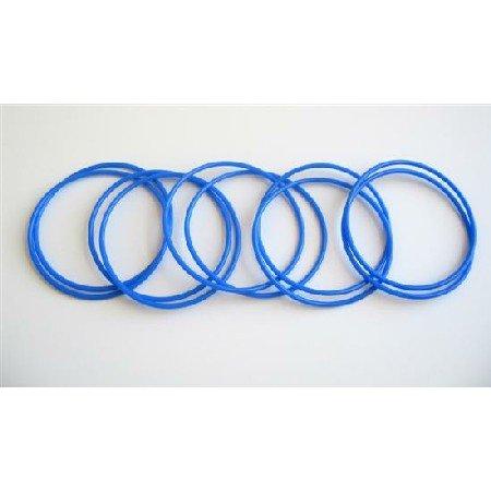 D067  Royal Blue Sleek Delicate Bangles Set Of 10 Bangles For $1