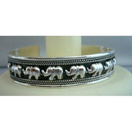 BR025  Elephants on Parade Sterling Silver Cuff Bracelet Genuine Sterling Silver 92.5 Cuff Bracelet