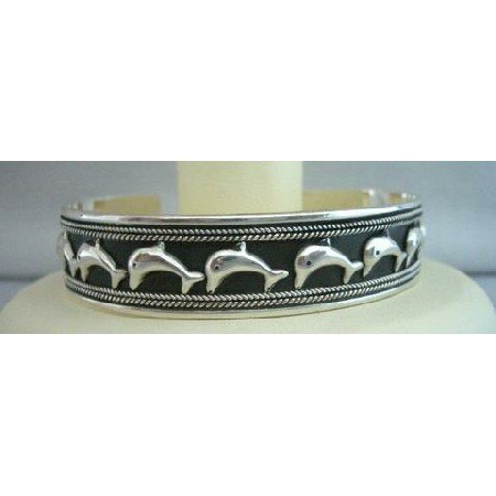 BR072  Dolphin on Parade Sterling Silver Cuff Bracelet Genuine Sterling Silver 92.5 Cuff Bracelet