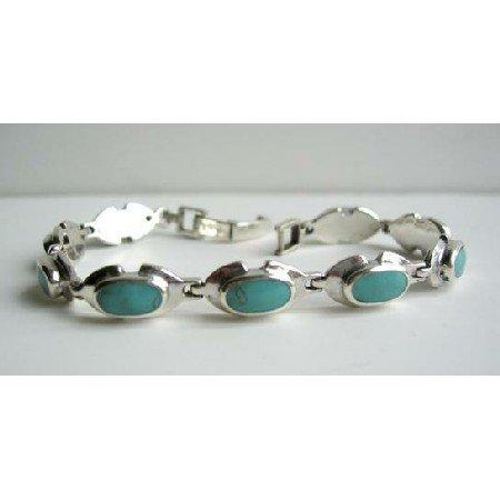 BR079  Sterling Silver Green Turquoise Bracelet w/ Oval Green Turquoise Stone Bracelet